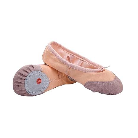 Dance Dancing inferior suave zapatos zapatillas de Ballet zapatos de deporte para niños amarillo claro Talla