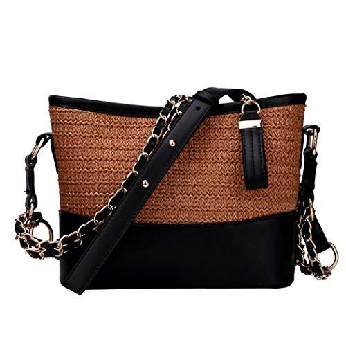 Handwoven Round Rattan Bag,Bamboo Bag,Natural Chic Hand,Handmade Top Handle Handbag for Summer Sea (Black)
