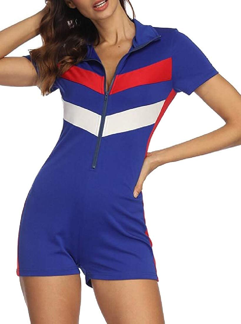 Hajotrawa Women Short Contrast Color Plain Zip Up Lapel Neck Bodysuit Jumpsuits