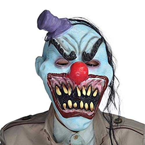 YUFENG Scary Halloween Devil Clown Mask With Hair, Mini Hat,Horror Mouth for Adults,Halloween Costume Party Props Masks ()
