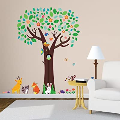 Decowall, DM-1312, Big Tree and Animal Friends peel & stick Nursery wall decals stickers