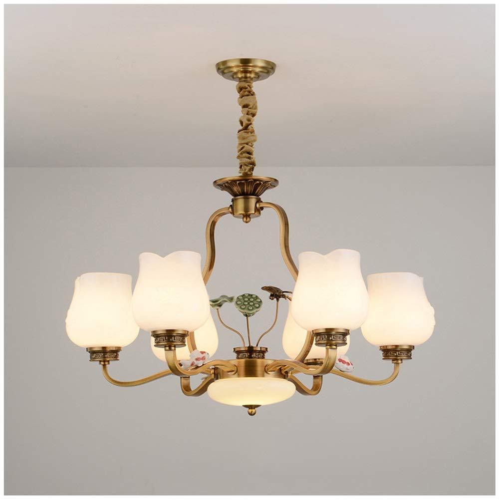 Light-S リビングルームペンダントライト中国風シャンデリア現代のミニマリスト天井照明ヴィラレストラン寝室ledレトロ錬鉄製のランプ   B07TRL55R8
