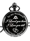 Pangda Quartz Pocket Watch to Husband Gift, Anniversary Gift Valentine's Day Gift, Engraved Pocket Watch, Black Dial (Black)