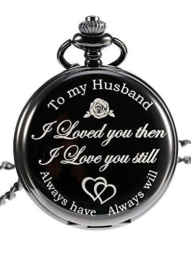 Pangda Quartz Pocket Watch to Husband Gift, Anniversary Gift Valentine's Day Gift, Engraved Pocket Watch, Black Dial (Black) - Anniversary Mens Watch