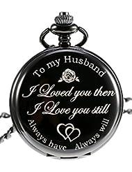 Pangda Quartz Pocket Watch to Husband Gift, Anniversary Gift Valentine's Day Gift, Engraved Pocket Watch (Black Dial)