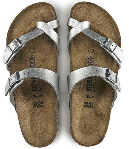 Mayari (Women's) Cork-Footbed Flat Sandals in Silver [New Style] (40 M EU / 9-9.5 B(M) US Women)