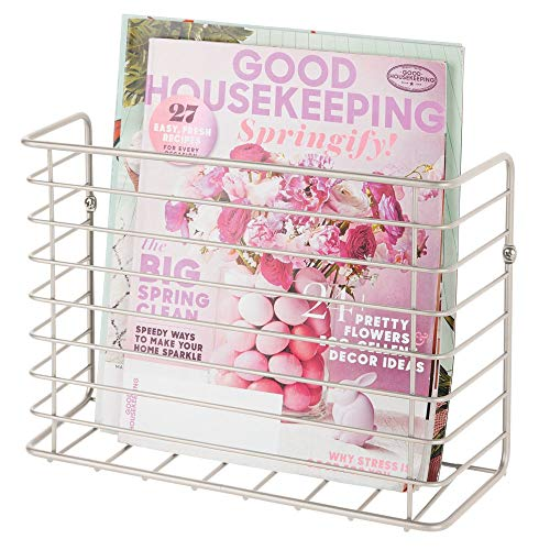mDesign Metal Wire Farmhouse Wall Mount Magazine Holder, Storage Organizer - Space Saving Compact Rack for Magazines, Books, Newspapers, Tablets in Entryway, Mudroom, Living Room, Office - Satin ()