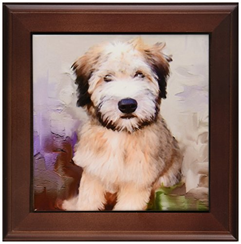 3dRose ft_4810_1 Soft Coated Wheaten Terrier Framed Tile, 8 by 8-Inch -
