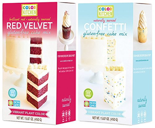Mini Cake Sampler - Gluten Free Cake Mix - ColorKitchen - Confetti Vanilla and Red Velvet Cake Mix Sampler - Plant Based Color - Naturally Sourced Ingredients - Zero Artificial Food Dyes - Non-GMO - 90% Organic Ingredie