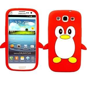 Penguin Silicona Concha Caso Cubrir Y Protector De Pantalla Para Samsung Galaxy S3 i9300 / Red