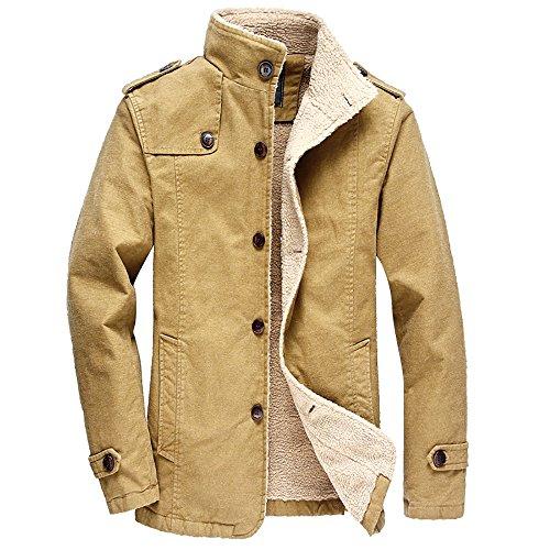 (Buytop Men's Winter Casual Lined with Berber Fleece Warm Outdoor Wear Men's Outdoors Casual Fleece Windproof Jacket Coat(8516-Khika-M) )