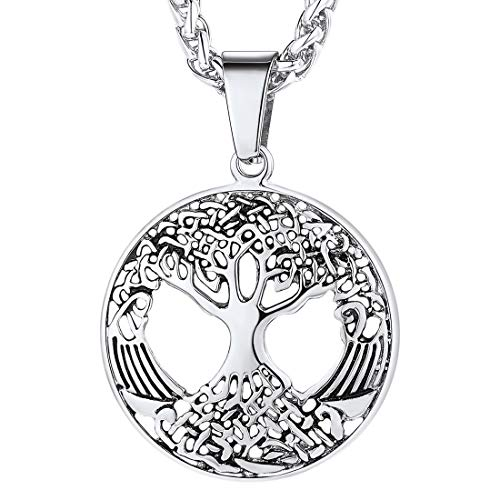 U7 Stainless Steel Chain Family Tree Necklace, Religious Sacred Tree of Life Pendant, with Gift Box
