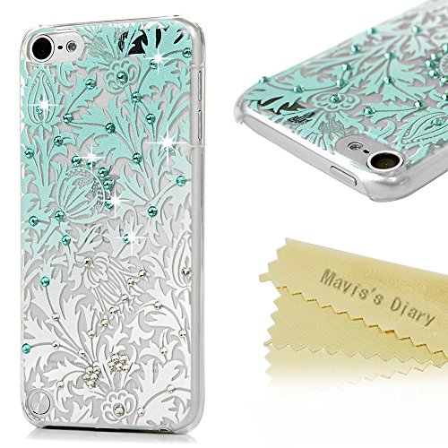 ipod 5 Case, ipod Touch 5th Generation Case - Mavis's Diary 3D Handmade Bling Crystal Shiny Rhinestone Diaonds Special Hollow Floral Gradient Pattern Clear Case Hard PC - Usps Epacket Tracking