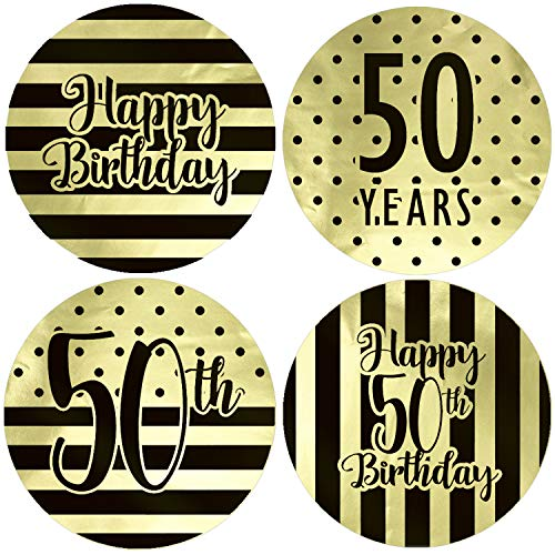 Black and Gold 50th Birthday Party Favor Labels, 1.75 in - Shiny Foil - 40 Stickers (50th Birthday Stickers)