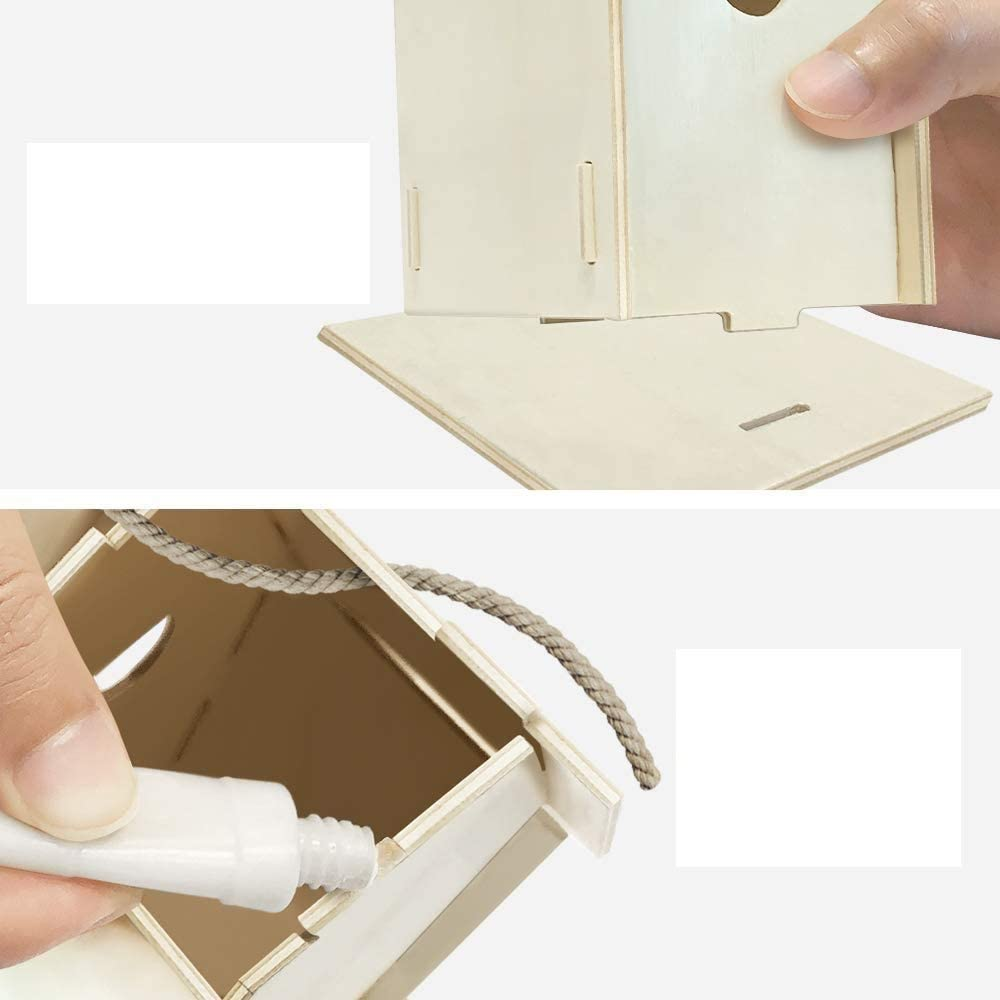 YUET DIY Kit de casa de p/ájaros,casas de p/ájaros para ni/ñas y ni/ños salvajes DIY nido de madera con,casa para p/ájaros para ni/ños,2 paquetes ventanas dobles