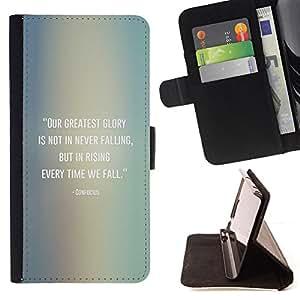 BullDog Case - FOR/Apple Iphone 6 / - / Confucius quote falling get up /- Monedero de cuero de la PU Llevar cubierta de la caja con el ID Credit Card Slots Flip funda de cuer