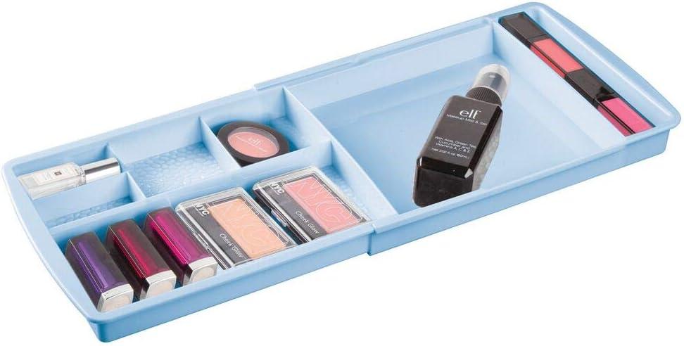 mDesign Organizador de cosméticos con divisiones – Caja organizadora extensible de plástico para cajones – Ideales organizadores de maquillaje, joyas o accesorios de baño pequeños – azul claro