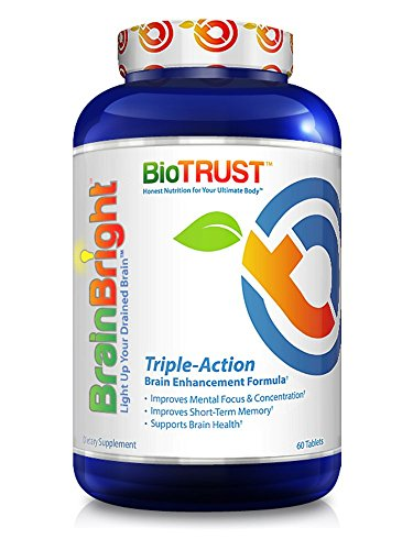 BioTrust Brain Bright Brain Booster Supplement | Energy, Focus, Memory and Clarity Support | Pure Ginkgo Biloba with Acetyl-L-Carnitine | Mental Performance Nootropic Supplement | 60 Tablets by BioTrust