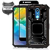 LG K30 LM-X410, Xpression Plus, Phoenix Plus X410AS, Harmony 2, CV3 Prime, Premier Pro LTE L413DL - Aluminum Metal Hybrid Phone Case + Tempered Glass Screen Protector - ZY1 Black