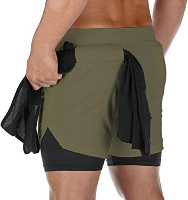Men/'s Casual 2-in-1 Shorts with Towel Loop for Workout Jogging Training Running