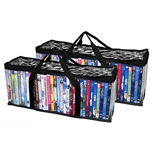 Evelots Portable Home DVD Blu-Ray Video Games Storage Bags Holds 80 Total - S/2 by Evelots