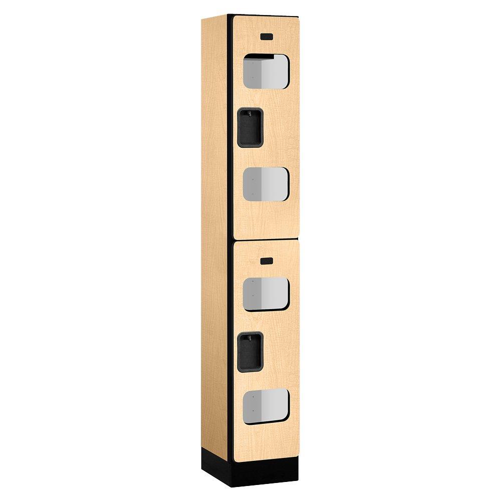 Salsbury Industries Double Tier See Through Designer Wood Locker, Maple, 6' 1'' x 15''