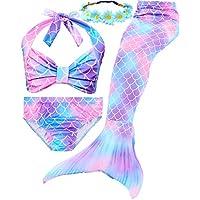 Garlagy 3 Pcs Girls Swimsuit Mermaid Tails for Swimming...