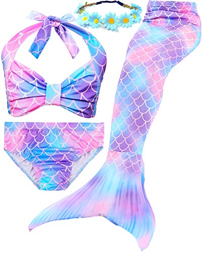 Garlagy 3 Pcs Girls Swimsuit Mermaid Tails for Swimming Bikini Set Bathing Suit Swimmable Can Add Monofin for 3-14Y (7-8/Ht:47-50in(tag 130), A-a Purple Blue) ()