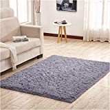 YJ.GWL Soft Shaggy Area Rugs for Bedroom Kids Room Children Playroom Non-Slip Living Room Carpets Nursery Mat Home Décor Rug 4 Feet x 5.3 Feet(Gray)
