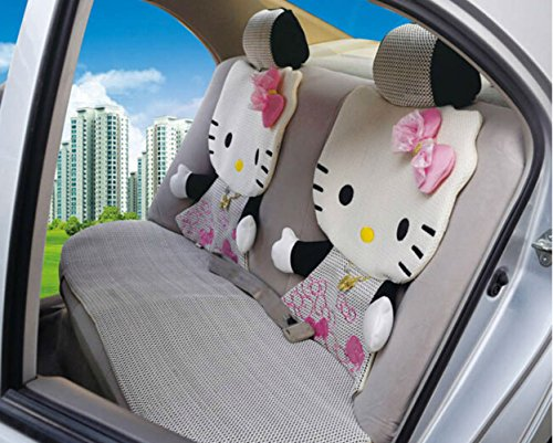 12pcs Hello Kitty Auto Car Front Rear Seat Cover Cushion Set 5-10 Days Delivery (Black)