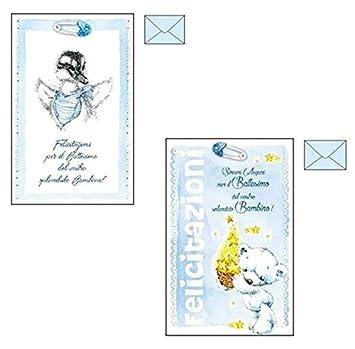 Takestop® Tarjeta Felicitación bautizo azul niño Glitter ...