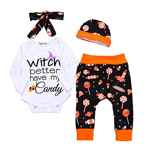 (Newborn Baby Toddler Boys Girls Halloween Party Costume Outfit Funny Saying Cute Romper Clothes with Hat 4 Pcs Pants Set (6-12 Months,)