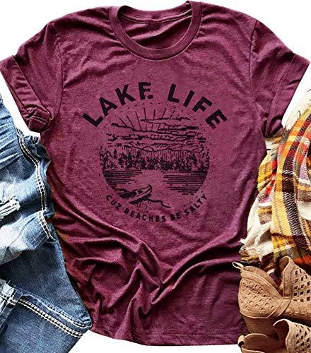 LANMERTREE Women Graphic Tees Lake Life Letters Print T Shirt Short Sleeve Casual Tops Blouse … (XL, Purple) (Lake Girl)