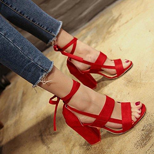 Dames Sandales Party Mode Sangles Hauts Rawdah Talons En Daim Femmes Croisées Toe Block Larges Rouge Chaussures Open À Cheville 4dFvwxFCq