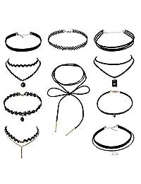 Choker Necklace Set Stretch Black Velvet Lace Choker Tassel Necklace