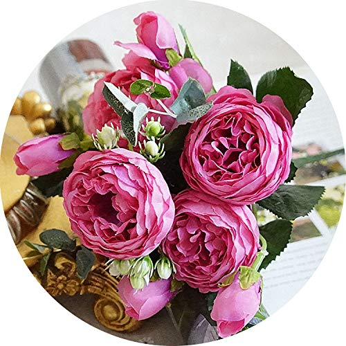 5 Heads Rose Peony Artificial Silk Flowers Small Bouquet Flores Home Party Wedding Fake Flower,3