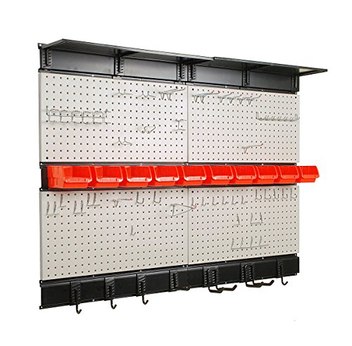 Ultrawall Garage Storage, 48x36 inch Pegboard with Hooks Garage Storage Bins Tool Board Panel Tool Organizer ()