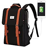 ACPBAGS Teimose Vintage Laptop Backpack Women Men,School College Backpack USB Charging Port Fashion Backpack Fits 15 inch Notebook(Black)
