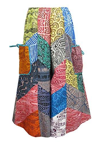 Women's Patchwork Tie Waist Pocket-Side Wide Leg Gaucho Capris Pants - P0509