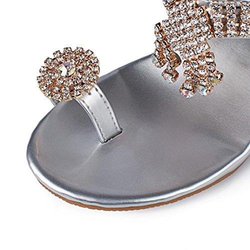 Shoes Wedges Heels Flip Sandals Silver Fashion Summer Women Fashion Rhinestone Shoes erthome High Crystal Flop xHzZBw87q