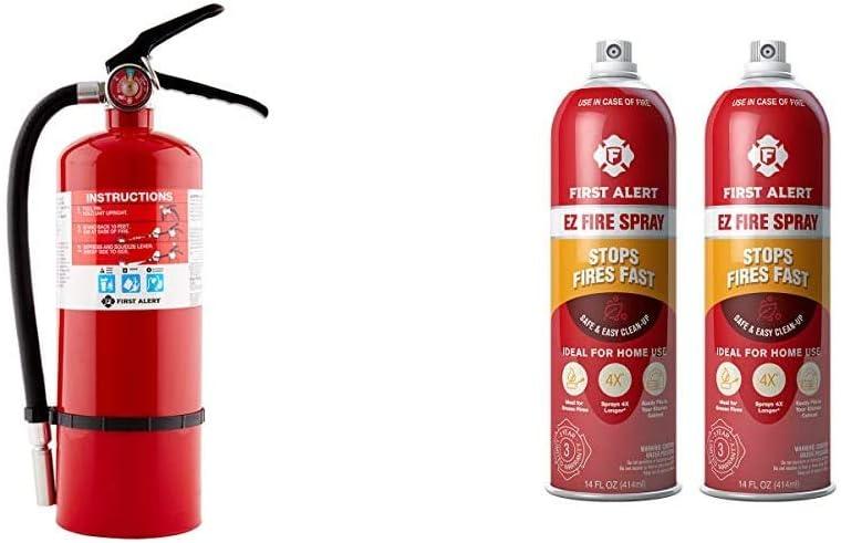 First Alert Fire Extinguisher | Professional FireExtinguisher, Red, 5 lb, PRO5 & Fire Extinguisher | EZ Fire SprayFireExtinguishing Aerosol Spray, Pack of 2, AF400-2