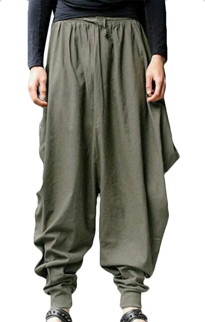 BLTR Men Wide Leg Designed Pure Color Retro Harem Pants Trousers