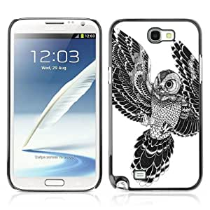 Designer Depo Hard Protection Case for Samsung Galaxy Note 2 N7100 / Beautiful Japanese Tattoo Owl