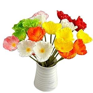 AMA(TM) 10pcs Artificial Mini Poppies Silk Flowers Bouquet Leaf Bridal Wedding Party Home Decor 40