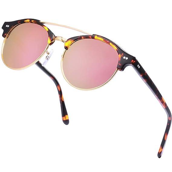 Carfia Gafas de Sol Polarizadas, Hombre Gafas de Sol Polarizado Medio Marco con Estuche - UV 400 Protección