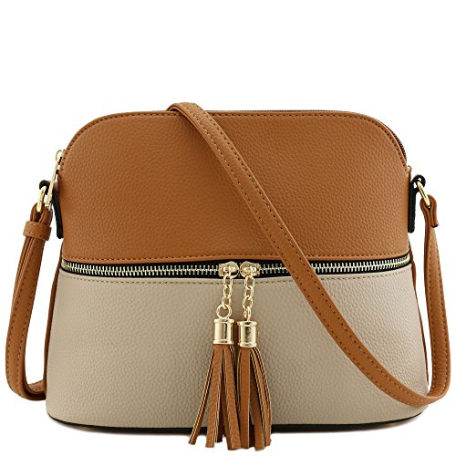 Tassel Zipper Pocket Crossbody Bag (Tan/Light Stone) (Min Leather Stone)