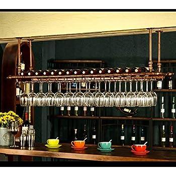 Wine Enthusiast Hanging Mahogany Wine Glass Rack 670 14