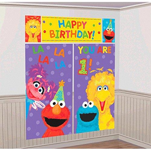 Amscan Sesame Street 1st Birthday Party Scene Setter Wall Decorating Kit, Plastic, 59