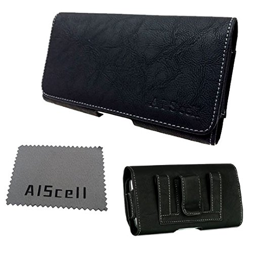 AIScell EX Large Black Deluxe Leather Pouch Case Belt Clip Holster+Cleaning Cloth For Motorola Moto X Pure Edition / Style (fits Phone+Hybrid Armor Dual Layer Protective Kickstand Cover Case) Deluxe Horizontal Leather Pouch Case