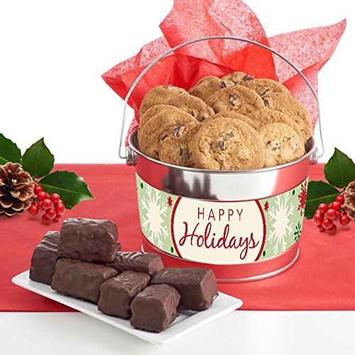 Happy Holidays Gift Bucket filled with Thin & Crispy Chocolate (Cookie Bucket)